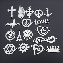 50pcs Stainless Steel Connector Charm Palm Leaf Silhouette Rudder Crown Peace Forever Love ECG mixed 2 Loops Jewelry Findings