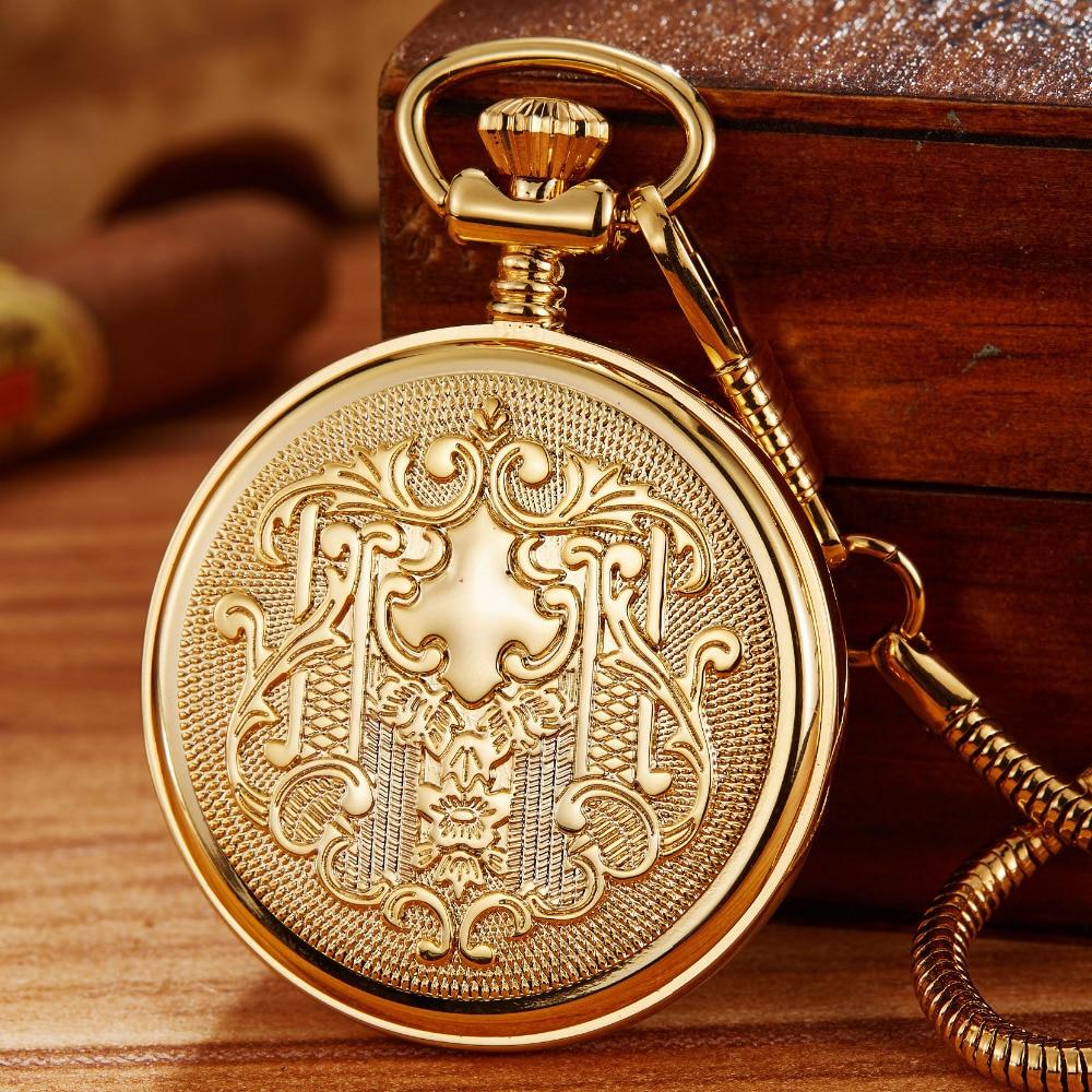 100% Hand-wind Luxury Mechanical Pocket Watch Luminous Skeleton Golden Men Women Fob Chain Clock Antique Pocket Watch Collection