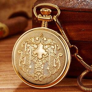 Image 3 - Montre de poche mécanique rétro dorée de luxe pour hommes et femmes. Chaîne Fob exquise. Sculpture en cuivre. Montre de poche automatique. Cadeaux