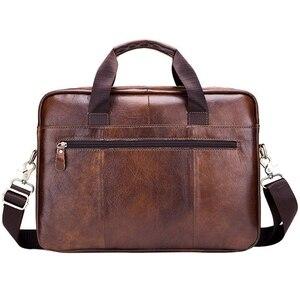 Image 2 - BULLCAPTAIN Genuine Leather MenS Briefcase Vintage Business Computer Bag Fashion Messenger Bags Man Shoulder Bag Postman