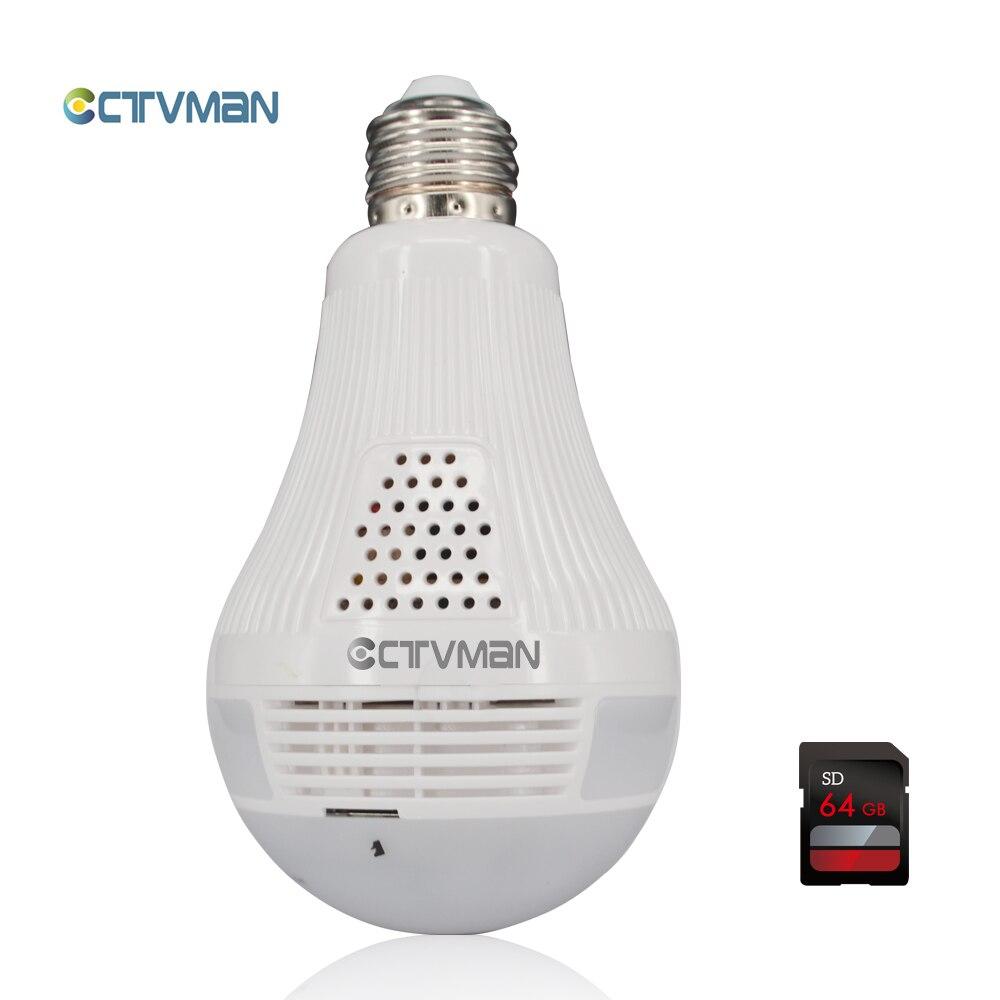 Caméra ampoule CTVMAN lumière LED avec carte SD 64 GB sans fil Mini 960 caméra IP Fisheye 360 degrés panoramique P2P Wifi CCTV moniteur bébé