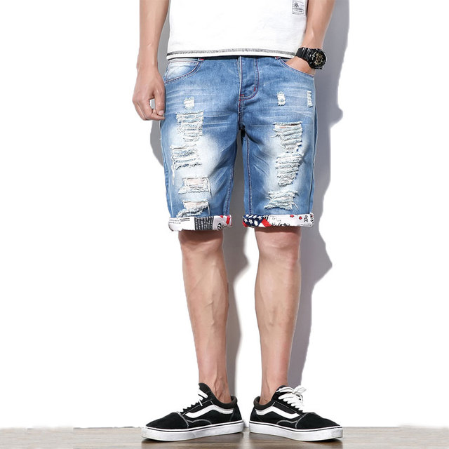 XMY3DWX 2018 summer fashion men Pure color hole The cowboy shorts /Man's leisure comfortable Slim fit movement shorts 29-44