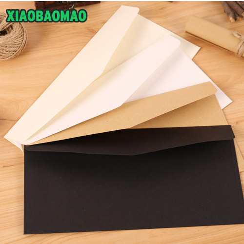 50pcs/set Vintage Brown White Black Kraft Blank Mini Paper Window Envelopes Wedding Invitation Envelope /gift Envelope 22X11cm