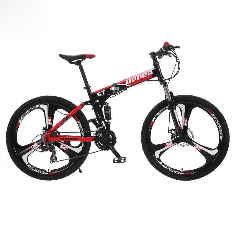 GT-UPPER Mountainbike Twee-Veersysteem Staal Vouwen Frame 24 Speed Shimano Mechanische Remschijf Legering Wiel