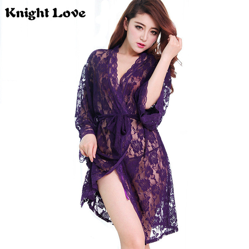 Sexy Women Nightgowns Sleepshirts Lingerie Sleepwear V Neck Nightgowns Solid Full Lace Transparnet Hollow Out Dress Chemise