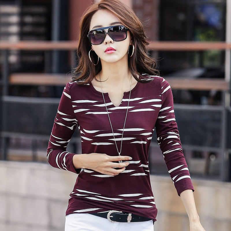 Koszula kobiety z długim rękawem kobieta 2019 w paski bluzki damskie na co dzień Plus rozmiar niebieski Tee Shirt Femme