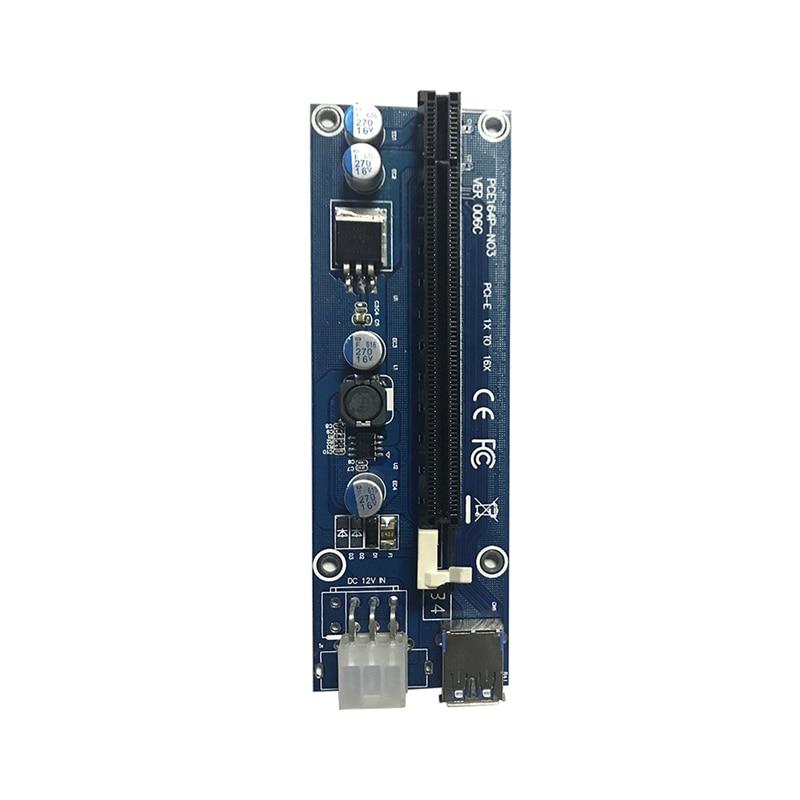 USB3.0 PCI Express Extender Riser-kort PCI-E 16X Adapter SATA 15Pin Man till 6-polig strömkabel för BTC Bitcoin Mining 30 / 60cm