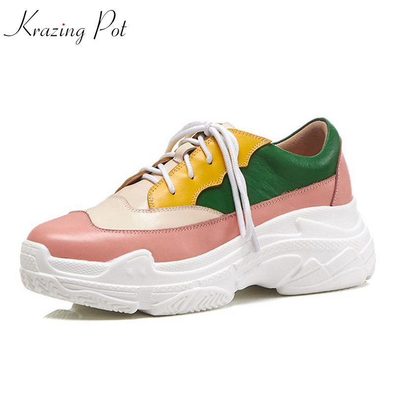 Krazing Pot 2018 new arrival cow leather loafers sneakers women round toe lace up mixed color art female vulcanized shoes L1f1