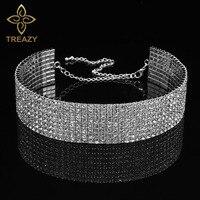 TREAZY, Свадебная вечеринка, 8 ряд, стразы, колье, цепочка, ожерелье для женщин, для невесты, с кристаллами, колье, ожерелье, эластичный шнур
