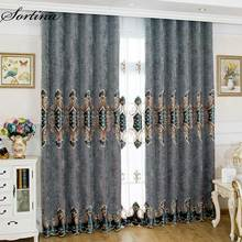 Living Room Blackout Grey Curtain Window Ready Door Roman Luxury Christmas and Tulle European Velvet Embroidery Drapes