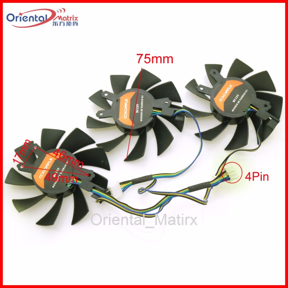 Free Shipping 3pcs/Lot 12V VGA Fan For iGame GTX 1060 GTX 1070 VuLcan U Graphics Card Cooling Fan 4Wire 4Pin free shipping t128015su msi r4770 hd4770 4pin pwn graphics card fan