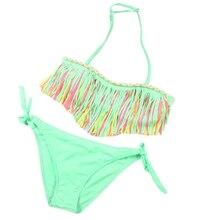 Premium 1Set Baby Girls Summer Swimwear Tassel Kids Split Swimwear Swimsuit Bodysuit Bikini Beachwear For Children Girls Gifts