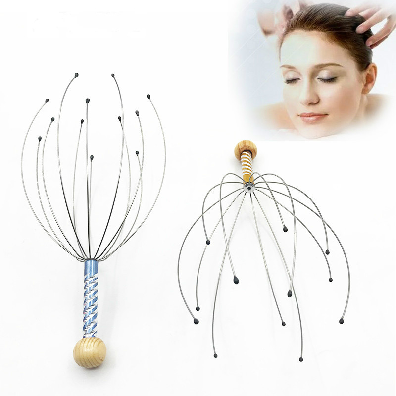 Anti-stress Tens Pain Relief Octopus Head Scalp Neck Stress Release Relax Massager Claw Face Skin Care Lift Tools