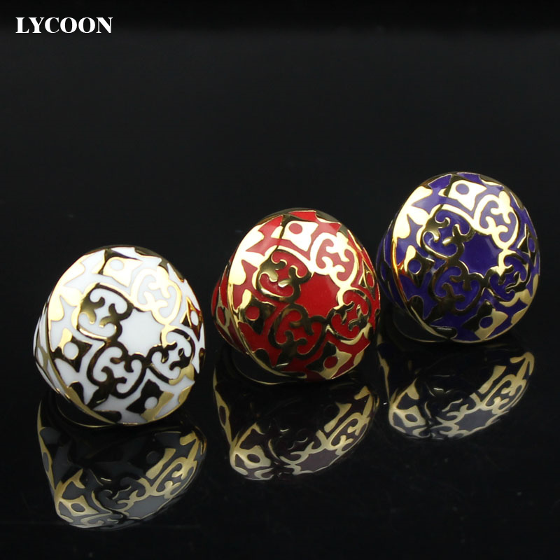 LYCOON Promotion!New Fashion man or woman ring 316L stainless steel rings three color resin imported Enamel gold plating R3039