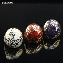 LYCOON Promoción! Nueva Moda hombre o mujer anillo de acero inoxidable 316L anillos de tres colores resina importada Esmalte chapado en oro R3039