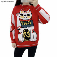 Kawaii Chinese Good Lucky Cat Sweater Women Autumn Winter Fortune Cat Maneki Neko Knitted Pullover Sweaters Red Jumpers Ladies