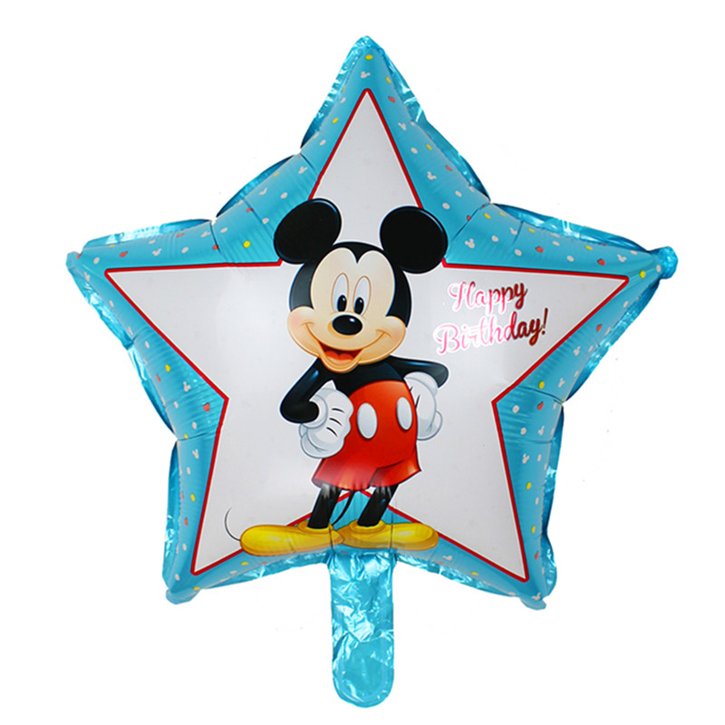 XXPWJ Free Shipping 1pcs / lot Five Star Mickey Birthday Foil Balloons Kids Toys Birthda ...