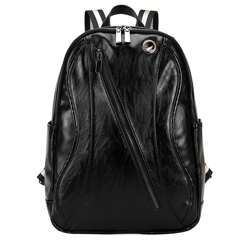 ФОТО Fashion Men's PU Leather Backpack High School Bags for Teenagers Male Black Brown Color Rucksacks Travel Backpacks Bag SG1419