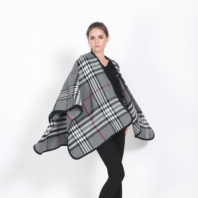 Fashion Bandana 2016 New British Plaid font b Tartan b font Blanket Poncho Capes Winter Cashmere