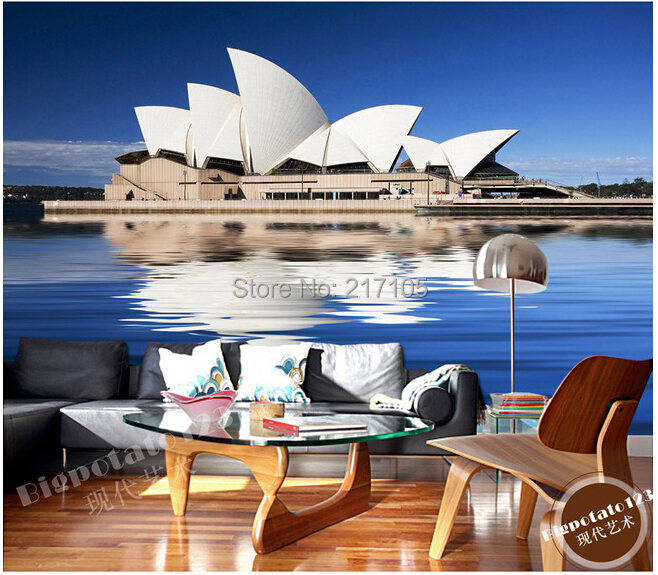 Custom photo wallpaper mural of Sydney Opera House for the living room sofa, TV background wall vinyl wallpaperpapel de parede landscape photo frame of the living room of the paris tv tower living tv background wallpaper wallpaper wall canvas