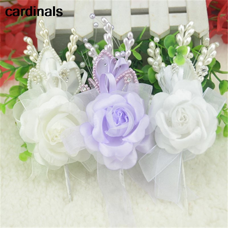 1pcs 2016 Latest Silk Wedding Rose Bud Artificial Flower Corsage Bridesmaid Boutonniere Or Married Suit Decoration Accessories In Dried Flowers