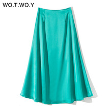7aa30a570 Compra blue satin skirt y disfruta del envío gratuito en AliExpress.com