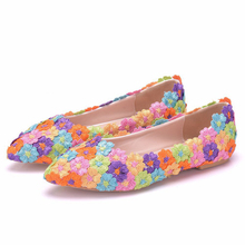 New Colorful Flower Lace Women Shoes Flat Pointed Toe Wedding Shoes Spring Casual Flats Shoes Plus Size Flats Women XY-A0150 white lace flower flat heel wedding flats shoes woman bride bridal handmade plus size 41 42 43 beading pearls party shoe hs312