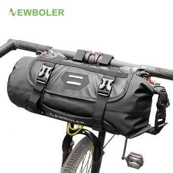 NEWBOLER الدراجة الجبهة كيس أنبوب للماء دراجة المقود سلة حزمة الدراجات الجبهة الإطار السلة دراجة