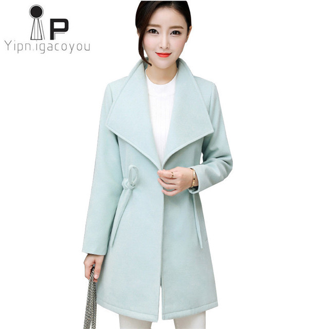 f453a85473a35 Warm Winter Women Coats Korean Plus size Autumn Long Coat Women Woolen Coat  Elegant Female Overcoat