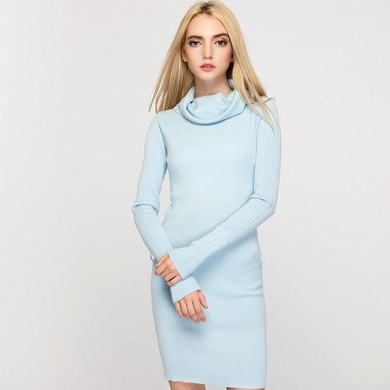 High Elastic Women Dress 2017 Autumn Winter Knitted Dresses Fashion Scarf Neck Slim Pencil Dress Long