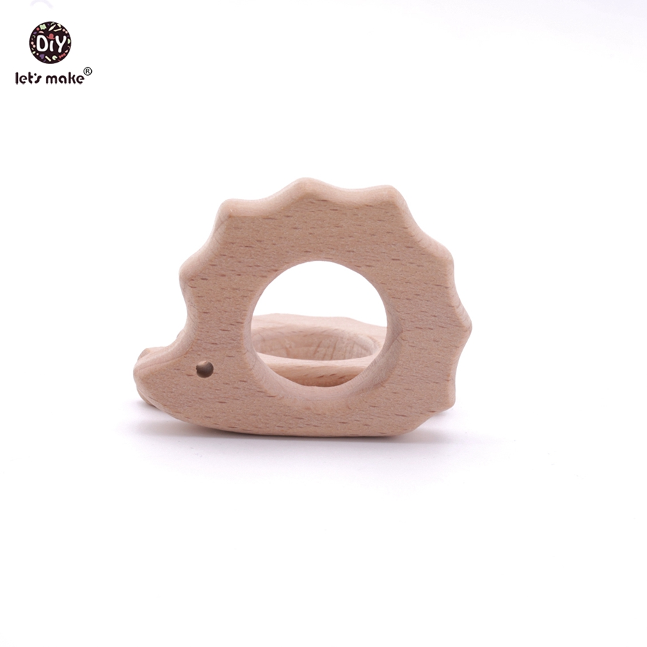 Lets Make Baby Teether 20pc Natural Wooden Animal Hedgehog/Porcupine Teething Rattle Montessori Inspired Organic Baby Toys