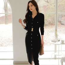 2019 Autumn New Professional Women Wear Amazon Bag Hip Thin OL Fashion Black Purity Dress Suit High Waist Hot