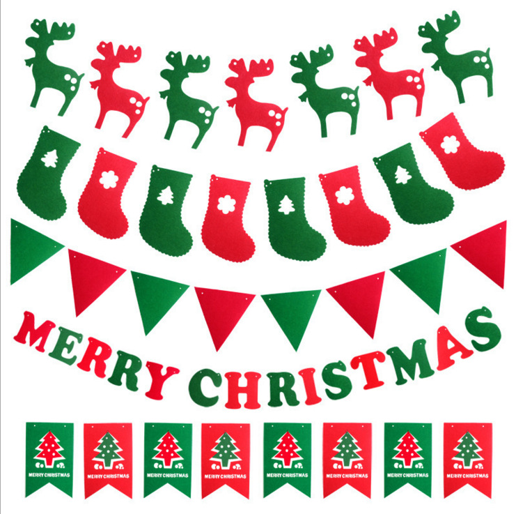 1 set Christmas Decoration Flag Hanging Banner Garland Ceiling Window Walls Hotel Non-woven Christmas Tree ornaments 2016