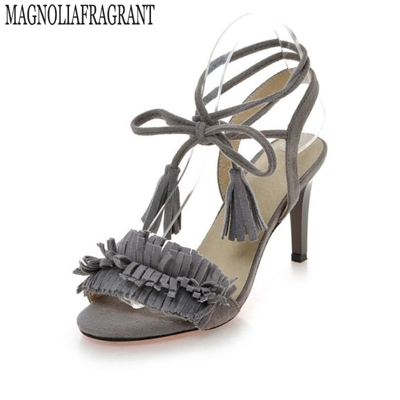 94c5d654a0ef3 Kitki wysokie obcasy drobne z obuwie sandały Kobiety pierścień stóp pasek  zamszowe czółenka buty kobieta sandalias mujer Duże stocznie 40-43 z31