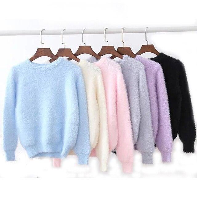 Плюшевые вязаный шерстяной Кашемир женщин пуловеры 2017 зима женская О-Образным Вырезом свитер сплошной цвет трикотаж женский красивый