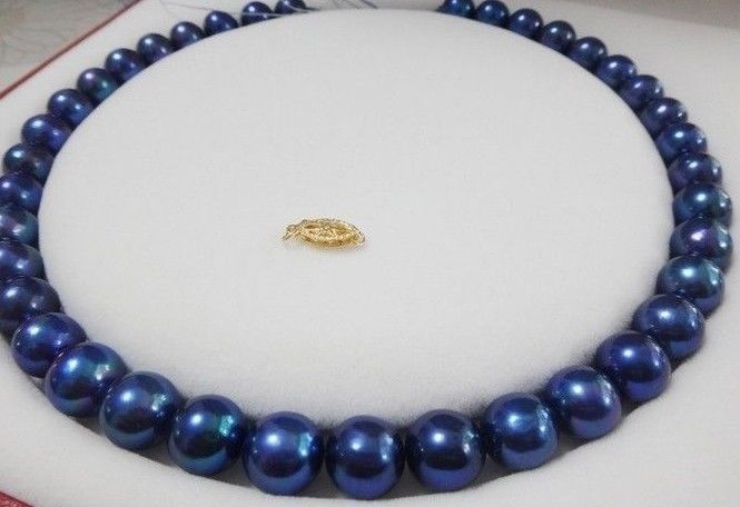 RARE 18PERFECT 10-11MM TAHITIAN PEACOCK BLUE PEARL NECKLACE 14k/20 nlw blue 18 20 22
