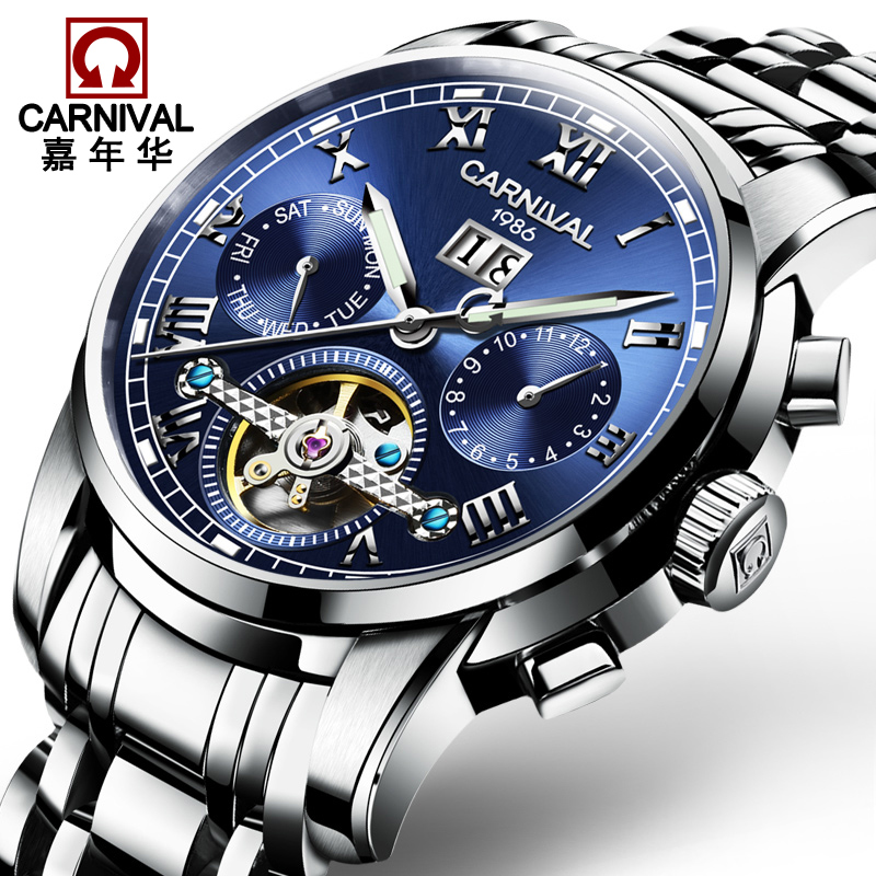 Carnival Tourbillon Automatic Watch Men Business Stainless Steel Mens Mechanical Watches Sapphire Crystal Clock horloges mannen tevise automatic mechanical tourbillon watch men luxury auto date day month stainless steel mens wristwatch horloges mannen