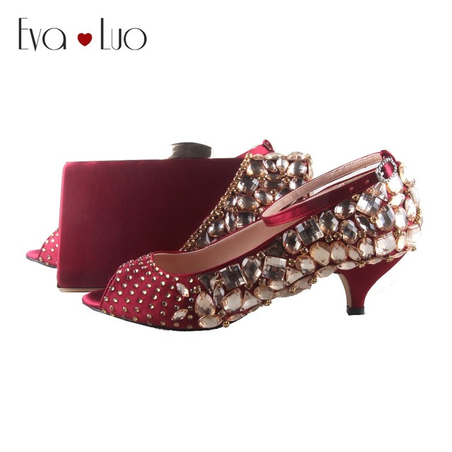 9ae2a6d12c US $199.0 |BS824 DHL Custom Made Wine Red Burgundy Crystal Italian Shoes  With Matching Bag Set Low Heel Open Toe Women Shoes Dress Pumps -in Women's  ...