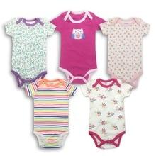 random 5pieces/lot Newborn Baby girl Clothes Cartoon Printed Short sleeve cotton Bodysuits kid Clothing