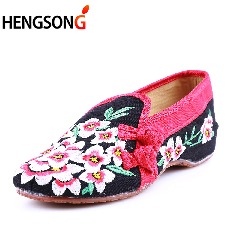 Ladies Old Peking Flower Shoes Women Casual Flats Shoes Peach Blossom Embroidered Cloth Clogs Shoes Super Soft Flats Girls 8