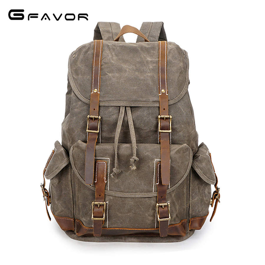 G-favor Retro Waterproof Travel Backpack Men Leather Canvas Backpack Laptop Backpacks Male Large Capacity Men Casual Daypacks