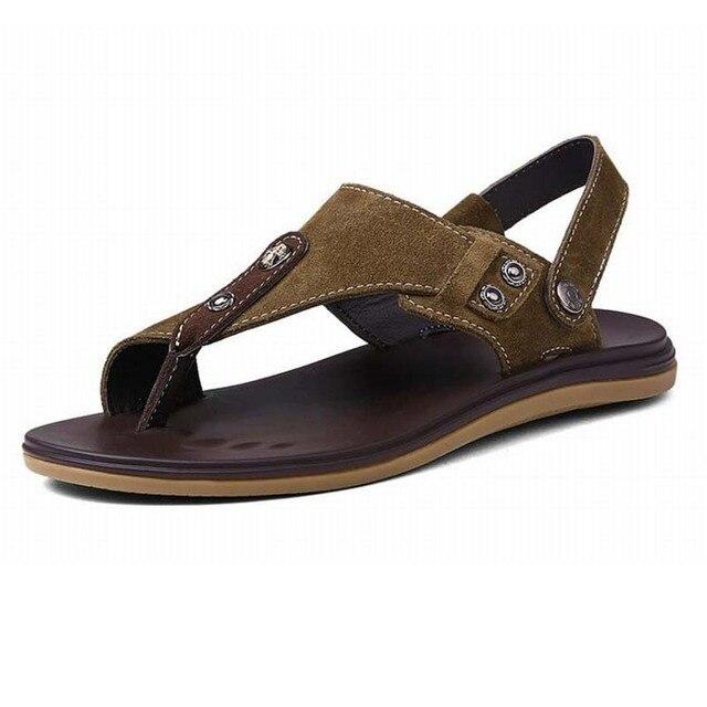 sandales hommes en cuir véritable chaussures mode pantoufles à bout ouvert chaussures plage chaussures pour homme CBmlF