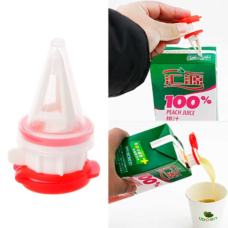 2Pcs/Set New Arrival Cap Type Beverage Bag Storage Sealing Clip Milk Box Anti-Sprinkle Drainage Nozzle Oct4
