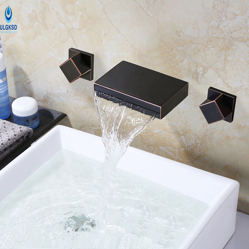Ulgksd 3PCS Wall Mounted Waterfall Sink Faucet Bathtub Faucet Bathroom Faucet Hot and Cold Sink Mixer Tap Tub Faucet chrome polished wall mounted bathroom sink tub faucet hot and cold water mixer tap