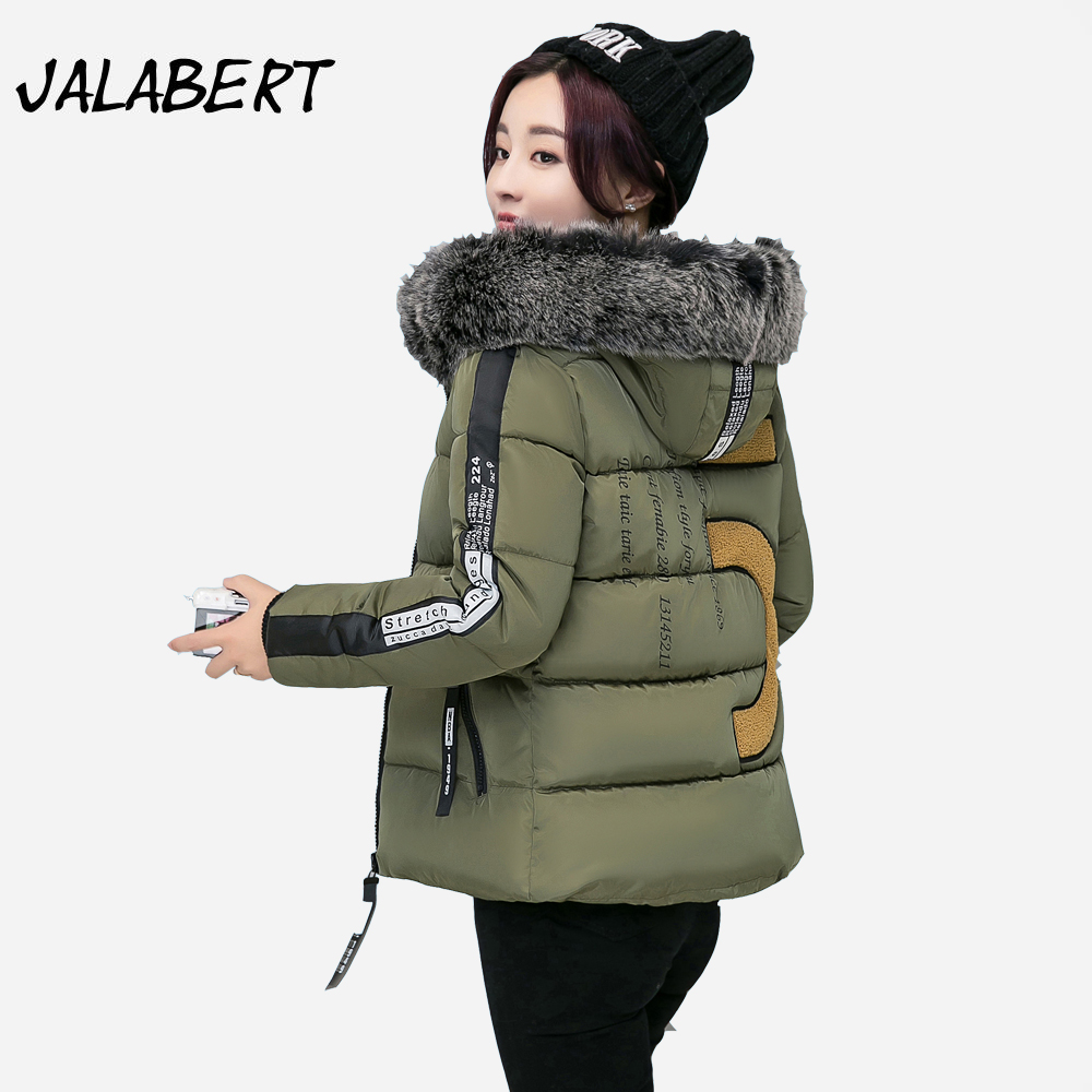 2017 autumn winter new cotton coat women short Hooded Fur collar Slim warm jacket Female fashion printing pattern Parkas 2016 new fashion autumn winter women basic jacket coat female slim hooded brand cotton coats