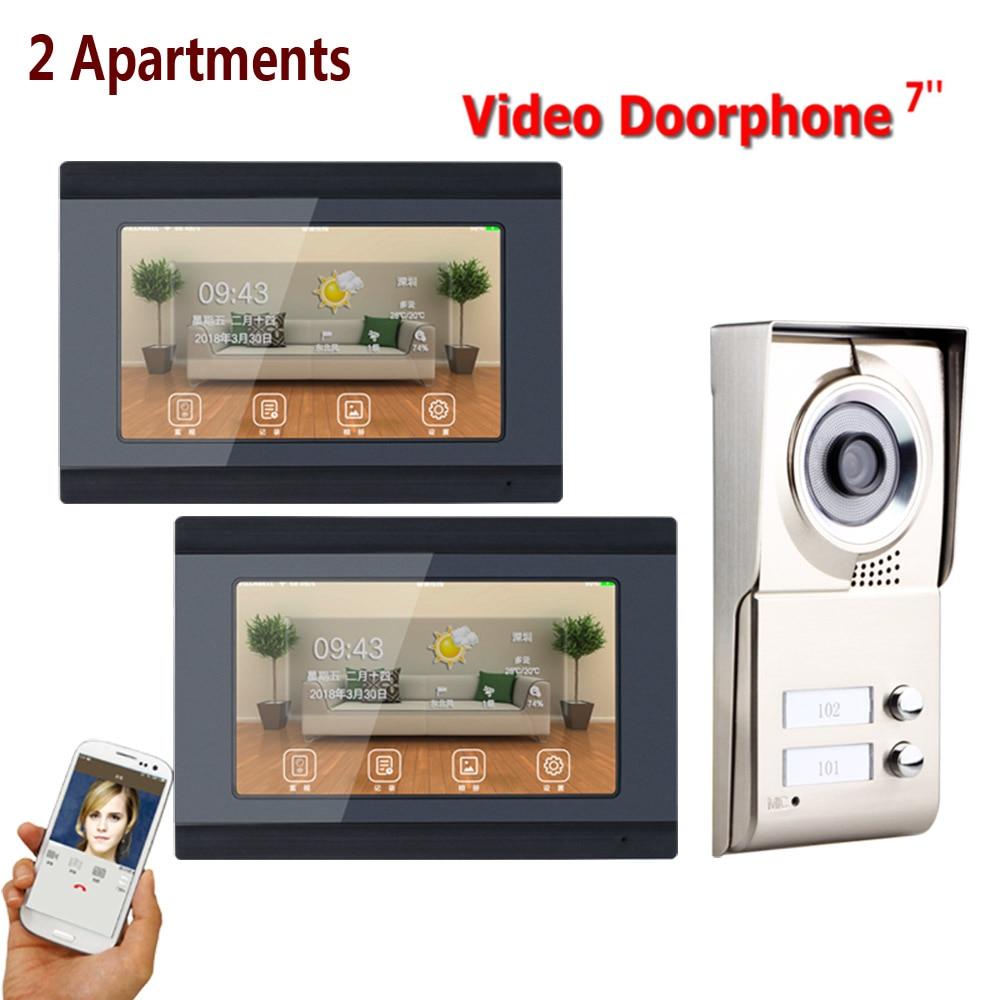 7inch Record Wireless Wifi 2 Apartments Video Door Phone Intercom System IR-CUT HD 1000TVL Camera Doorbell Camera With 2 Button