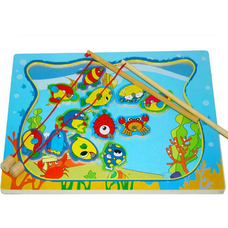 unid beb juguetes de pesca de madera con peces varillas kids child early