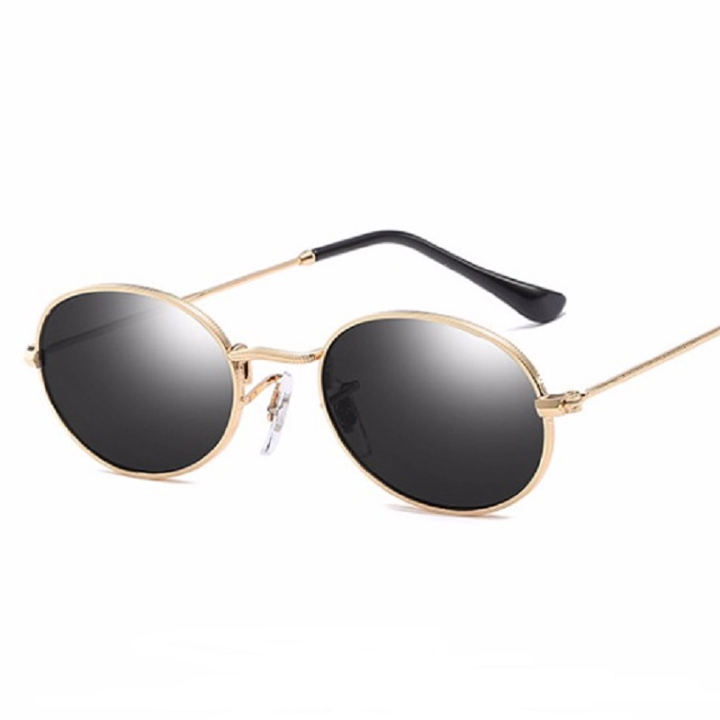 WISH CLUB Fashion Women Sunglasses Famous Oval Sun Glasses Luxury Brand Metal Round Rays Frames Black Small Cheap Eyewear Oculos