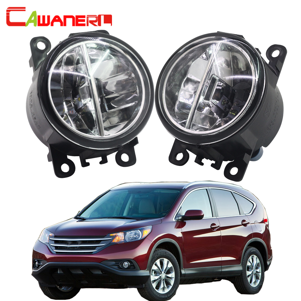 Cawanerl 2 Pieces Car Styling LED Fog Light 4000LM 6000K Daytime Running Lamp DRL White 12V For Honda CR-V CRV 2.4L L4 2012-2014 cawanerl for toyota highlander 2008 2012 car styling left right fog light led drl daytime running lamp white 12v 2 pieces
