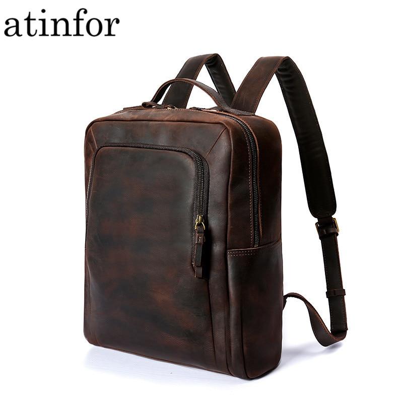 Atinfor marque de haute qualité en cuir véritable Vintage 14 pouces sac à dos pour ordinateur portable hommes